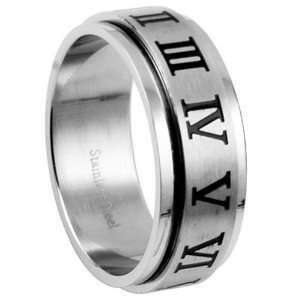 Roman Numeral Spinner Stainless Steel Ring   Size 12