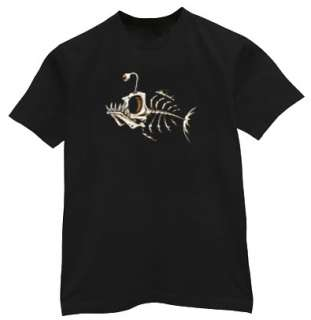 Skeleton Fish Bones Tattoo Design Tee Shirt T shirt
