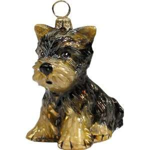 YORKSHIRE TERRIER Puppy Dog Glass Ornament Joy To The