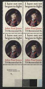 Scotts #1789 15c JOHN PAUL JONES Stamp Block, MNH