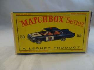 1963 Lesney Matchbox Ford Fairlane 55 B 55b Police Cop Car Light Blue