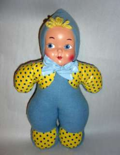 VINTAGE 1940S NOVELTY PLUSH MASK FACE BABY DOLL