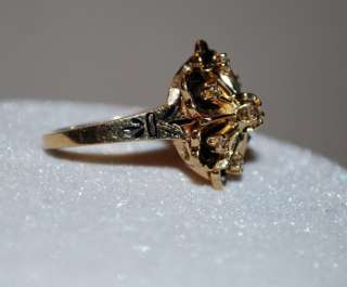 TRUBRITE 14KT YELLOW GOLD DIAMOND FLOWER COCKTAIL RING ESTATE FIND
