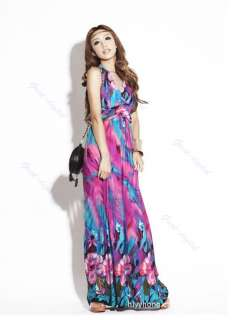 New Bohemian Sexy Maxi Long Dresses Flowers Beach Sundress V Neck
