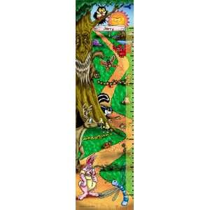 Canvas Growth Chart Cartoon Forest Animals Playing