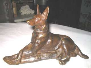 ANTIQUE FRENCH BRONZE GERMAN SHEPHERD DOG ART STATUE SCULPTURE SIGNED