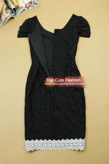 Elegant Women All Lace Dress Size S M L XL BLACK