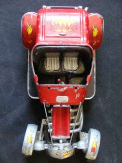 Vintage Hubley Metal Hot Rod Painted Red With Flames Built Model Car
