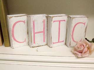 Shabby Cottage Chic Wooden Letter Blocks Baby CHIC cute