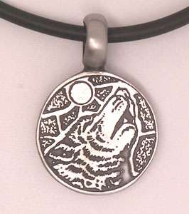 Pewter pendant of Wolf howling to the moon. Come as Choices of Key