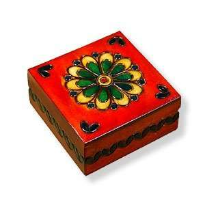 Keepsake Box, Red with Flower Design, 3.25x3.25.