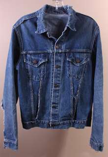MENS VTG LEVI 2 POCKET BIG E 557 COTTON DENIM JACKET L