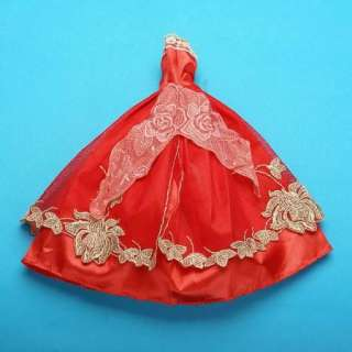 NEW red party barbie Clothes Dress Gown for Barbie Doll 649