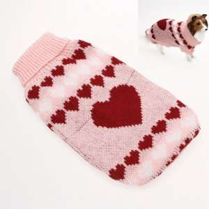 Turtleneck Dog Sweater Clothes w/ Heart Patterns   Size S