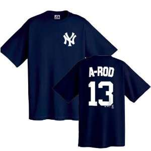 Alex Rodriguez (New York Yankees) Youth Name and Number T Shirt (Navy
