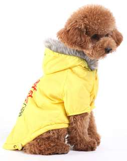 Yellow Warm Coat Hoodie Jacket Dog Clothes Apparel new