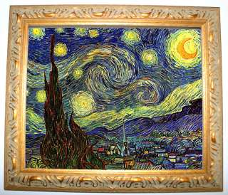 Vincent Van Gogh Starry Night   Gold Framed Giclee Canvas Art 8x10