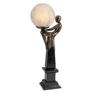 Classic Bronze Art Deco Sculpture Statue Table Lamp
