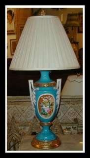 Antique Hand Painted French Porcelain Urn Lamp