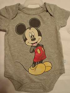 DISNEY BABY boys girls GRAY MICKEY MOUSE bodysuit onesie NWT SHORT