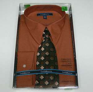 Croft & Barrow Mens Orange Dress Shirt Hand Crafted Tie Gift Box Set