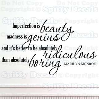 IMPERFECTION IS BEAUTY MARILYN MONROE Quote Vinyl Wall Decal Sticker
