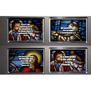 Gift Boxed Set of 4 Fridge Magnets Bible Quotes 1