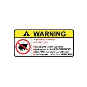 BMW M5 V8 No Bull, Warning decal, sticker