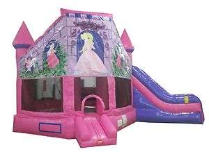 New Inflatable Combo Bounce House Pink Princess Jumping Castle