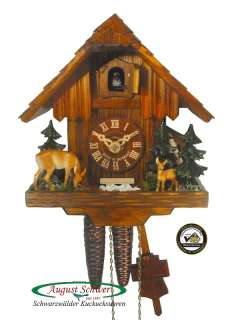 Black Forest Cuckoo Clock 1 Day Forest Cabin & Deer NEW