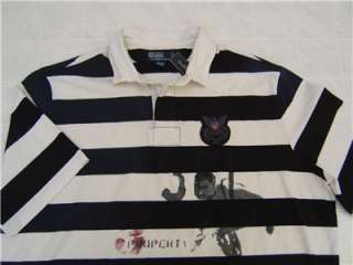 NWT RALPH LAUREN POLO MENS RUGBY STRIPE BLACK SHIRT XL
