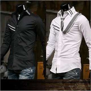 Mens Casual Slim Fit Dress Shirts BLACK WHITE SIZE M L XL XXL h46