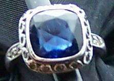 ANTIQUE ART DECO STERLING BLUE WHITE STONE RING 5.25