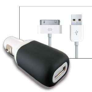 White/Black USB Car Charger w/ USB cable for iPhone 4S 4