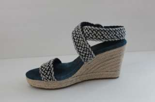 NEW LUCKY BRAND TABITHA WOMENS NAVY BRAIDED WOVEN WEDGE SANDAL HEELS