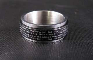 Lords Prayer Black Stainless Steel Spinner Ring SZ 9