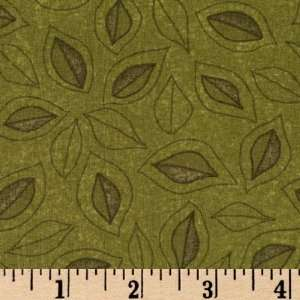 44 Wide Harvest Moon Autumn Leaves Green Fabric By The