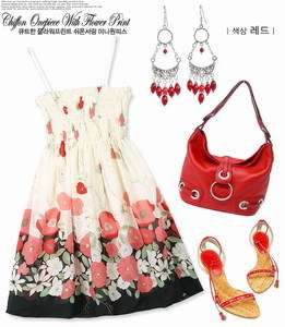 Japan Korean Style Trendy Fashion Red Summer Dress