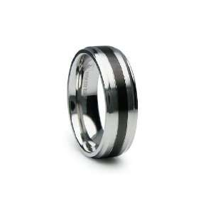 Stainless Steel Ring High Polish with Center Black PVD 7mm