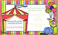 Kids Circus/Carnival Birthday Party Invitations