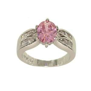 Pink Cubic Zirconia Silvertone Fashion Ring with Two Rows of Channel