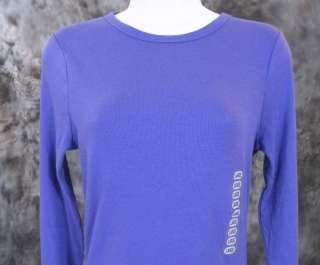 NEW Kersh Essentials Womens Long Sleeve Ribbed Cotton Top Purple Size