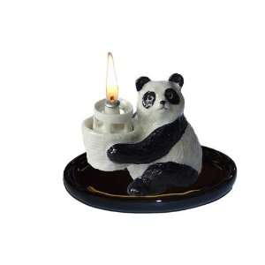 PANDA BEAR holds OIL LAMP w/Wick on BLACK TRAY Figurine