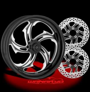 BLACK PERFORMANCE MACHINE RIVAL WHEELS, ROTORS, PULLEY TIRES HARLEY