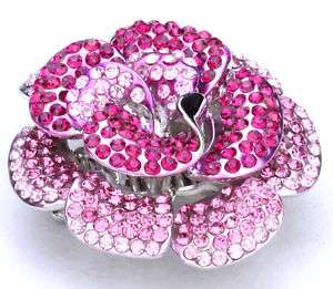 Red pink swarovski crystal flower stretch ring jewelry