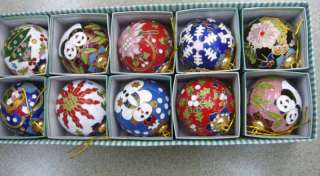 Lot 10 Chinese cloisonne Christmas tree ornaments ball
