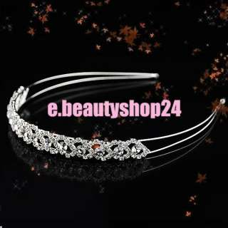 Wedding Bridal Crystal Tiara 2 Row Rhinestone Headband