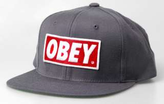 Obey Snap Back Hat Cap Grey Red Logo Snapback