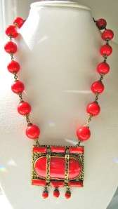 Vintage 1930s Art Deco Red Czech Glass Beaded Necklace CZECHOSLOVAKIA