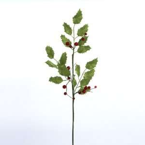 12 Winter Solace Green Holly Leaf and Red Berry Artificial